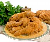picture of fried chicken  - Fried chicken pieces over a white background - JPG