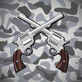 stock photo of crossed pistols  - Illustration Vector Crossed Guns on camouflage background - JPG