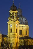 stock photo of munich residence  - The famous Theatinerkirche church in Munich - JPG