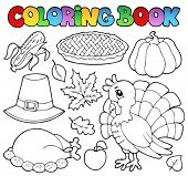 Coloring book Thanksgiving image 1 - vector illustration.