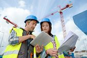 picture of supervision  - Construction manager and engineer working on building site - JPG