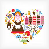 stock photo of water-mill  - Heart with Netherlands vector icons - JPG