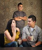 foto of headstrong  - Serious Native American mother and father with stubborn son - JPG