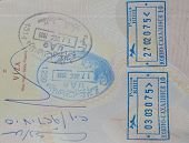 stock photo of sakhalin  - Passport page with stamps from UAE  - JPG
