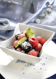 stock photo of gourmet food  - berry sweet dessert restaurant - JPG