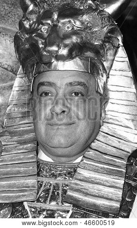 LONDON - JUNE 4: Mohamed Al Fayed, Owner of Harrods department store, attends a photo call wearing ancient Egyptian costume on June 4, 1991 in London. He is now Chairman of Fulham Football Club.