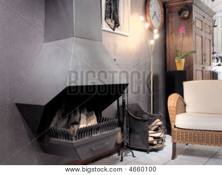 Home Interior With Fire Place