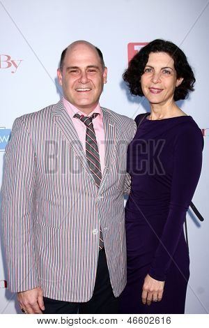 LOS ANGELES - JUN 2:  Matthew Weiner, Linda Brettler arrives at the WGA's 101 Best Written Series Announcement at the Writers Guild of America Theater on June 2, 2013 in Beverly Hills, CA