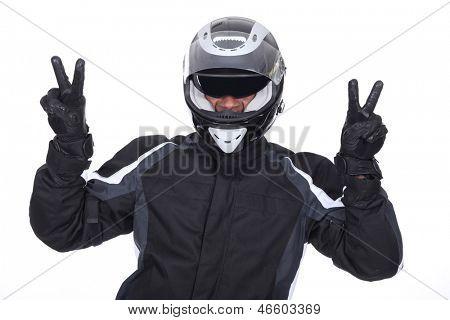 biker doing victory sign