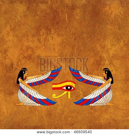 Background with Egyptian goddess Isis image