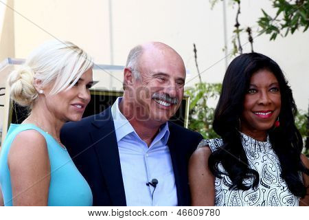 LOS ANGELES - MAY 31:  Yolanda Foster, Dr Phil McGraw, Natalie Cole at the David Foster Hollywood Walk of Fame Star Ceremony at the Capital Records Building on May 31, 2013 in Los Angeles, CA