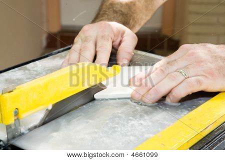 Cutting Ceramic Tile Closeup