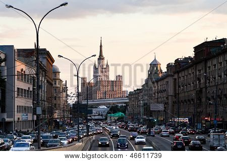 Bolshaya Sadovaya Street In Moscow In Evening