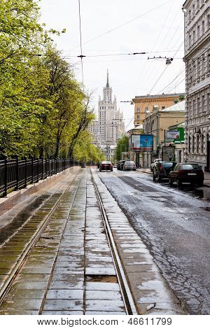 Carriageway Of Pokrovsky Boulevard In Moscow