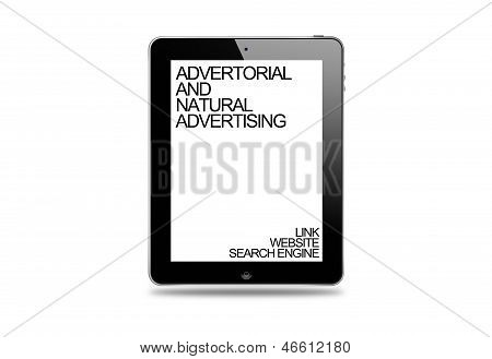 Tablet display, Advertorial and Native Advertising, Link and Website