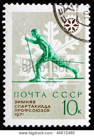 Postage Stamp Russia 1970 Skiing, 1971 Spartakiad