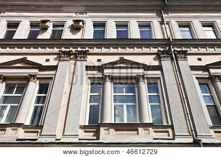 Facade Of House In Style Of Moscow Empire