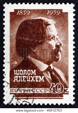 Estampilla Rusia 1959 Sholem Aleijem, escritor Yiddish