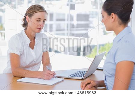 Woman having a job interview with a businesswoman