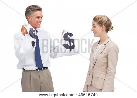 A mature businessman showing money bags to his coworker