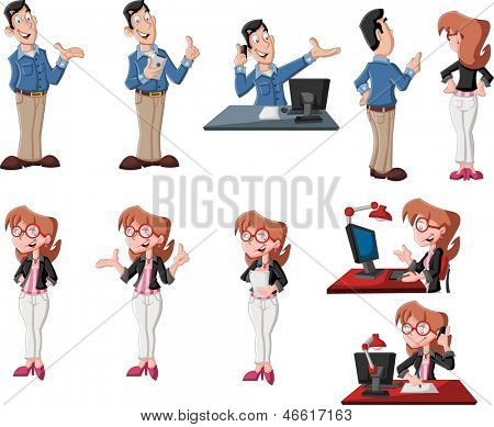 Happy cartoon couple in different poses working on computer