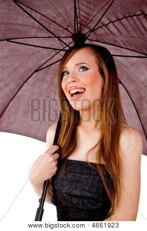 Holding Umbrella - Smiling Woman