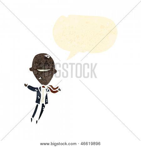 retro cartoon floating big head businessman