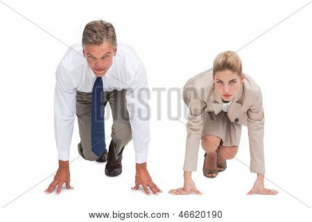 Business people ready to race on starting line on white background