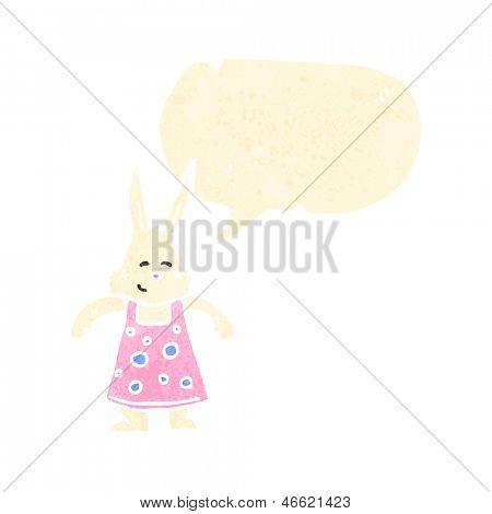 conejo de dibujos animados retro en vestido