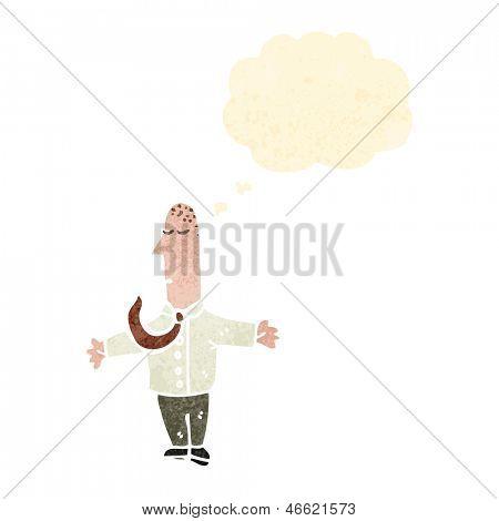 hombre de dibujos animados Retro, encogiéndose de hombros