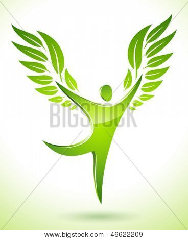 Vector illustration of a green figure with leaves as wings