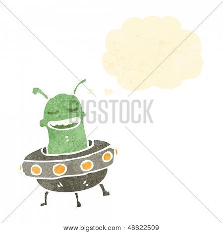 retro cartoon alien in flying saucer