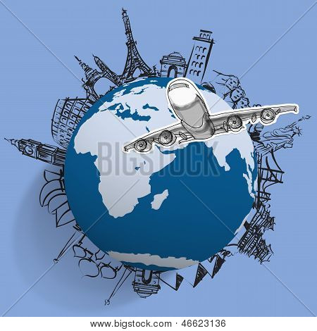 Airplane Traveling Around The World