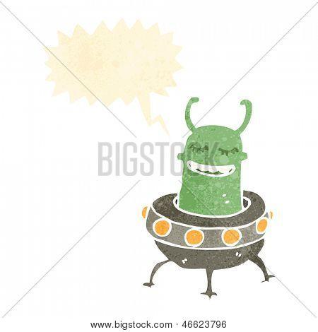 retro cartoon alien in flying saucer
