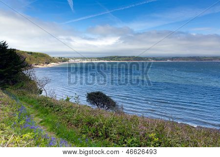 View from Monkstone point across Saundersfoot Bay Pembrokeshire West wales