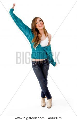 Front View Of Happy Dancing Woman