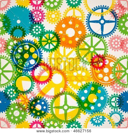 Seamless clockwork colorful background