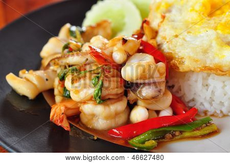 Sea Food Basil With Rices