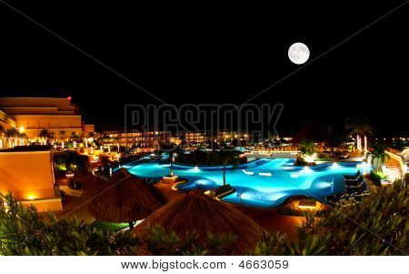 A Luxury All Inclusive Beach Resort At Night