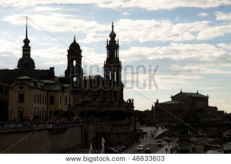 Dresden In The Evening. Silhouettes Of Dresden