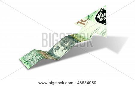 Australian Dollar Bank Note Upward Trend Arrow
