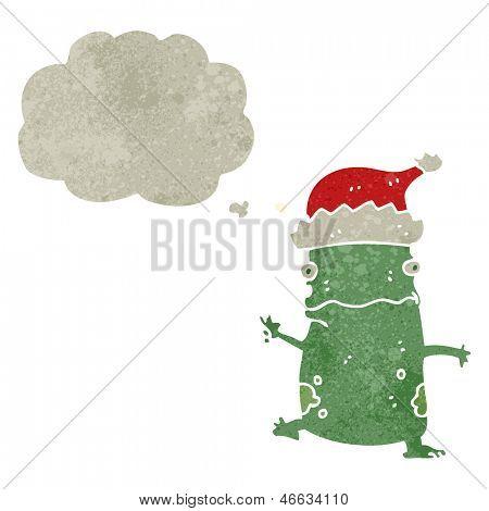 retro cartoon dancing frog with christmas hat