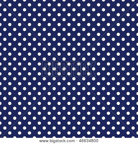 Seamless vector dark pattern with white polka dots on a sailor navy blue background.
