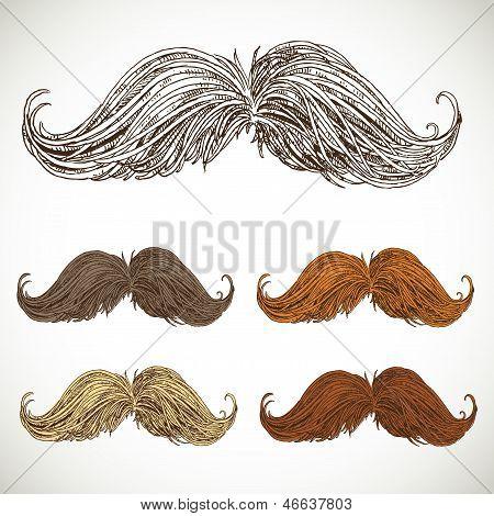 Classic retro twisted mustache set