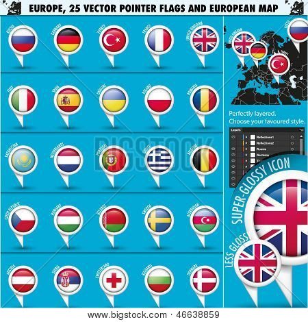 European Icons Round Indicator Flags and Map Set1