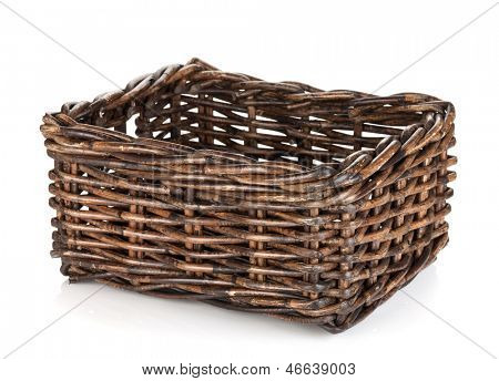 Empty wicker basket. Isolated on white background
