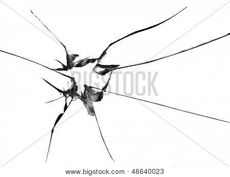 broken glass, macro photo on white