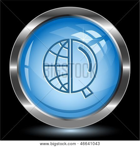 Globe and magnifying glass. Internet button. Vector illustration.