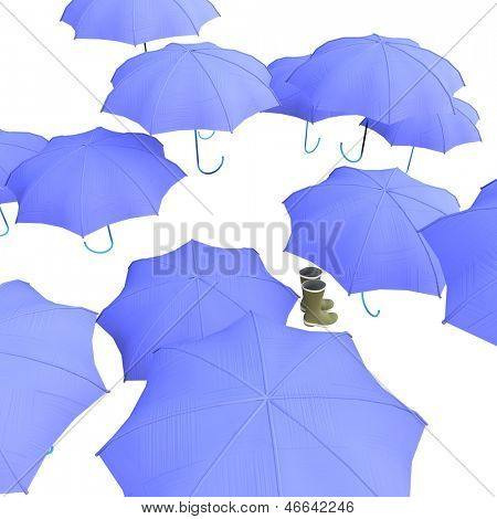 Umbrellas and wellies isolated on white background