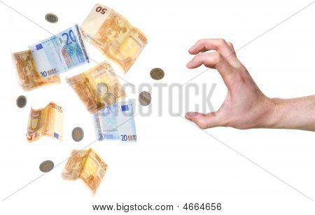 Hand About To Grab Money Isolated On White Background